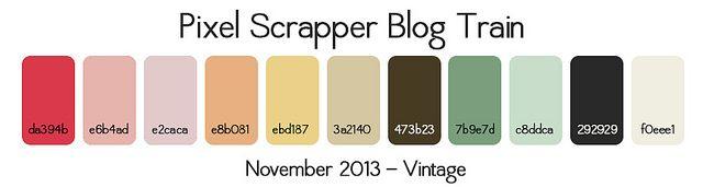 Pixel Scrapper Nov 2013 Blog Train Palette - Vintage: Training Palettes, Blog Training, Color Palet, Digital Scrapbooking, Scrapper Blog, Nov 2013, 2013 Blog, Scrapper Nov, Pixel Scrapper