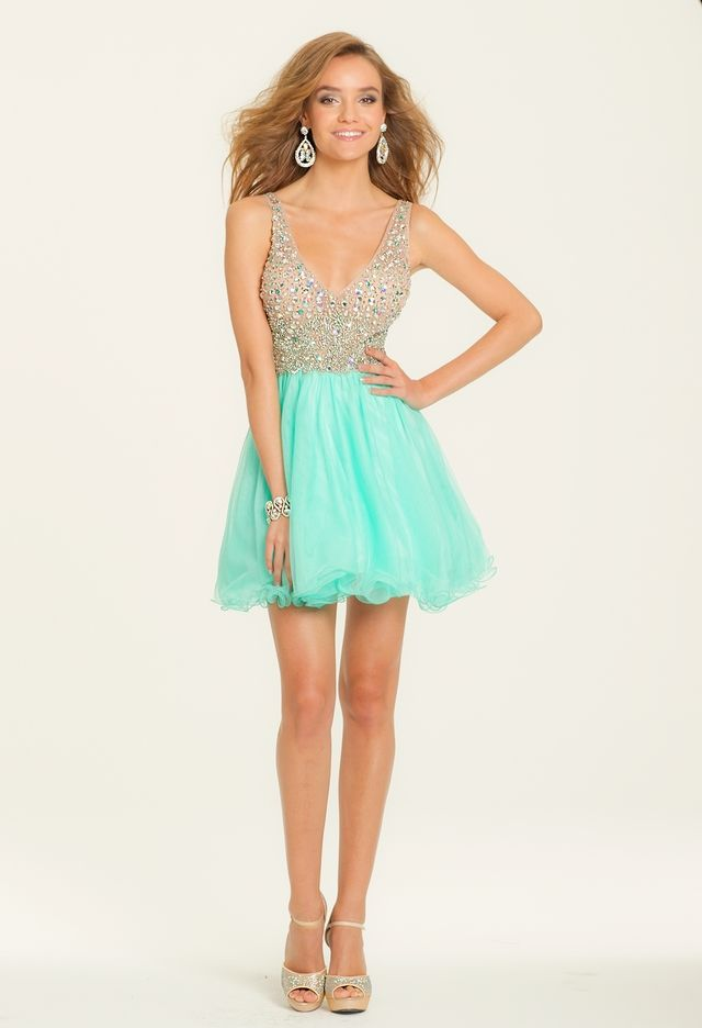 Beaded V-neck Tulle Party Dress from Camille La Vie and Group USA