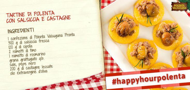 Per un aperitivo sfizioso, anche l'occhio vuole la sua parte. Successo assicurato con le tartine di #polenta con #salsiccia e #castagne!Scopri la ricetta qui: www.polentavalsugana.it/ricette/tartine-di-polenta-valsugana-con-salsiccia-e-castagne/