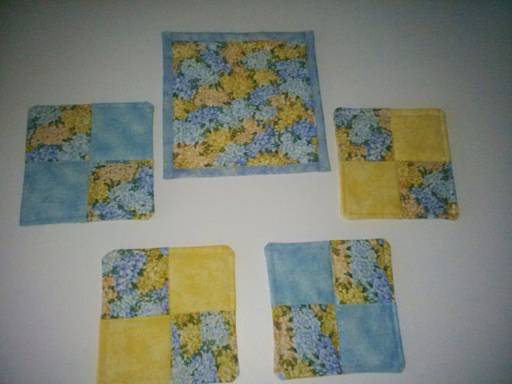 COASTERS 4 and    MUG MAT, Blue and  yellow,100 percent Cotton Handmade by QuiltingbyDiamanti on Etsy