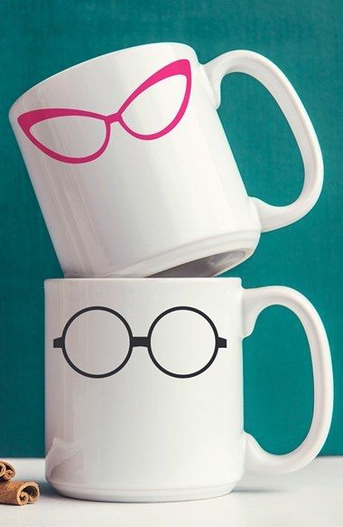 Eyedolatry Gifts For Glasses Lovers: 'Geek Glasses' Ceramic Mugs (Set of 2)