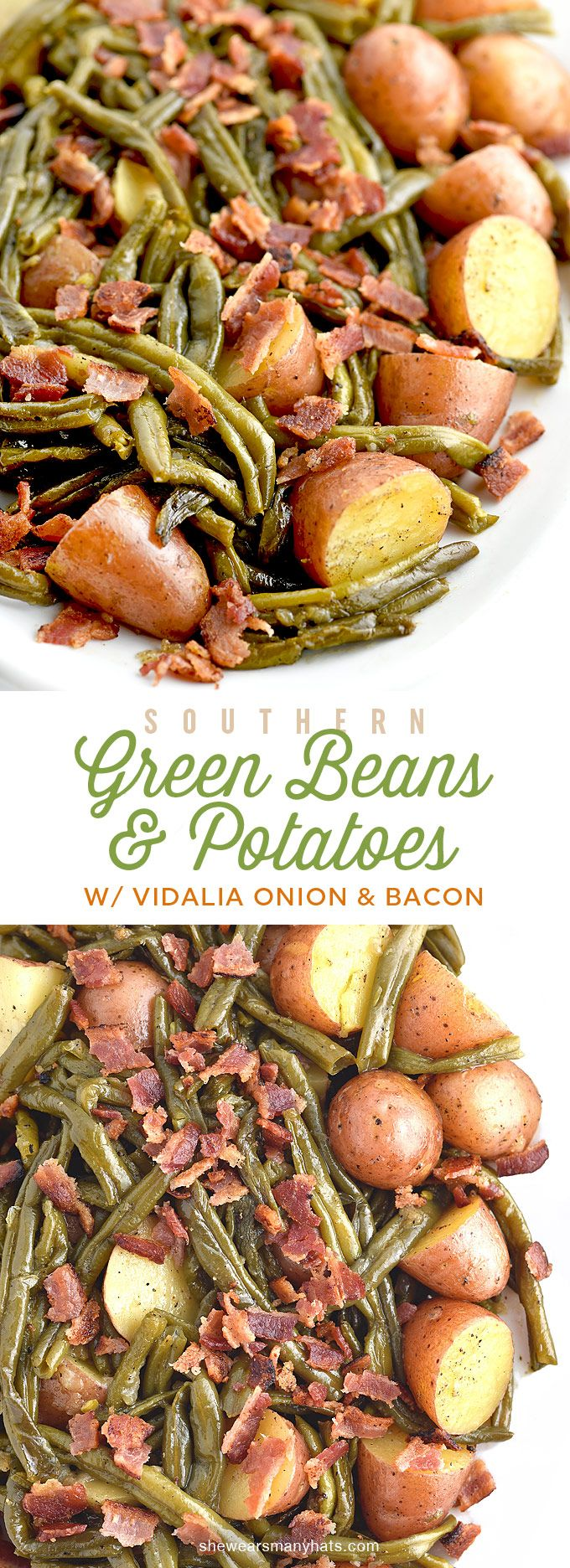 Southern Green Beans and Potatoes with Vidalia Onion and Bacon Recipe | shewearsmanyhats.com *Using ghee*