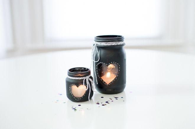 Pizarra corazón DIY titular tarro de albañil vela