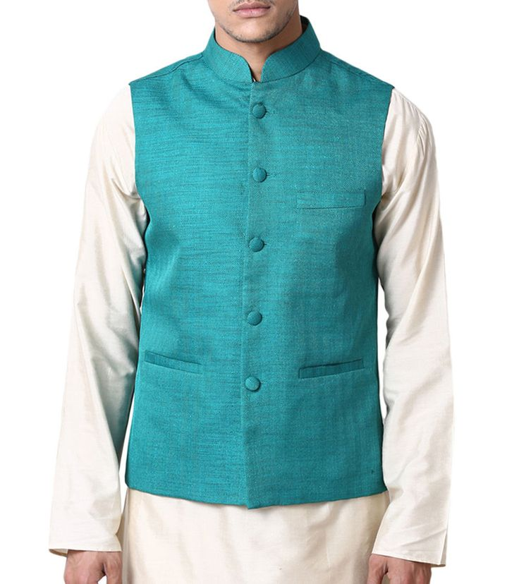 Blue Silk Nehru Jacket