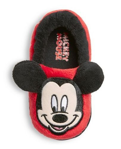 DISNEY Toddler Boys Red & Black Cozy Mickey Mouse Plush Slippers XL 11/12 - NWT #Disney #Slippers