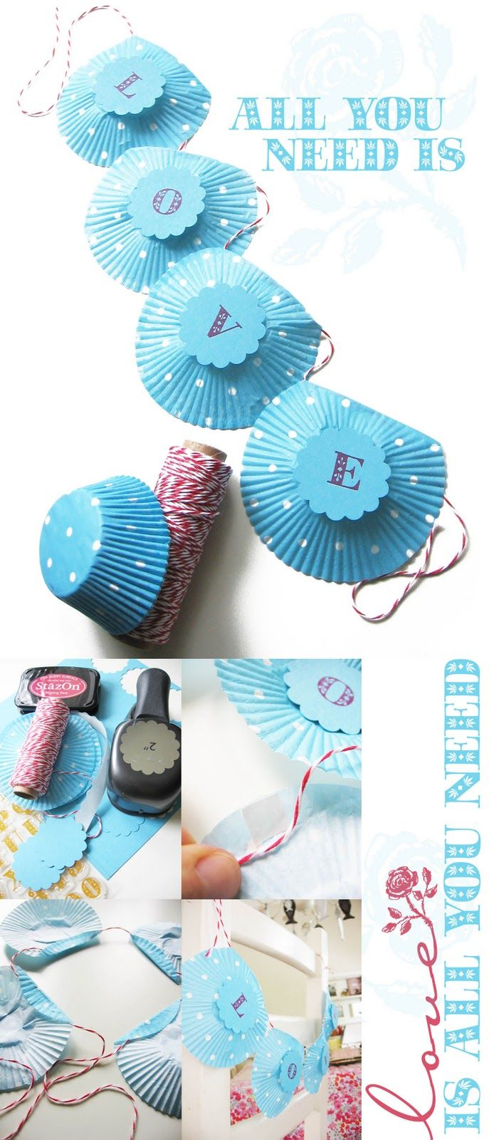 Cupcake Garland cute idea for any type of party. You could also make flowers using the same colour cupcakes and then use them for your actual edible cupcakes. And before you know it you have a theme