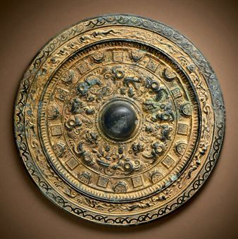 A RARE GILDED BRONZE MIRROR | LATE EASTERN HAN/THREE KINGDOMS PERIOD, LATE 2ND/3RD CENTURY | Chinese Ceramics & Works of Art Auction | mirrors, bronze | Christie's