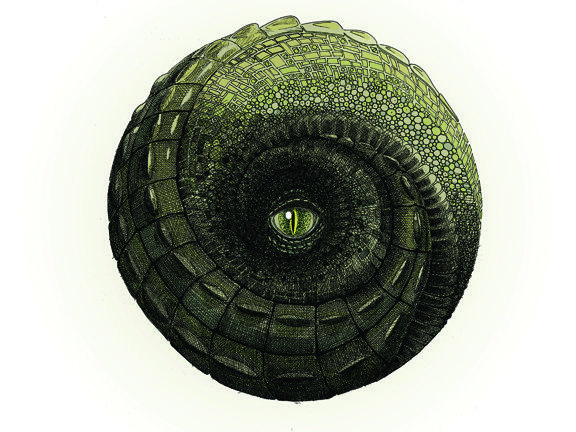 Hand drawn crocodile ball. Available as downloadable print from Etsy.
