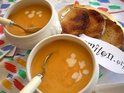 Soupe potiron coco gingembre - Recette de cuisine Marmiton : une recette
