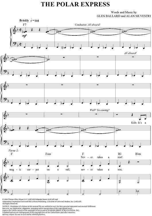 piano chords polar express | The Polar Express Sheet Music | OnlineSheetMusic.com