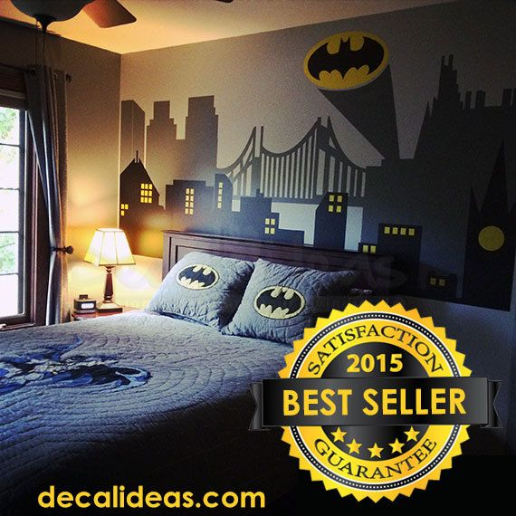 Superhero Wall Decal - Gotham City Wall Decal - Batman Sticker - City Skyline…