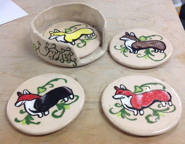 High School Ceramics, Coasters & Container.