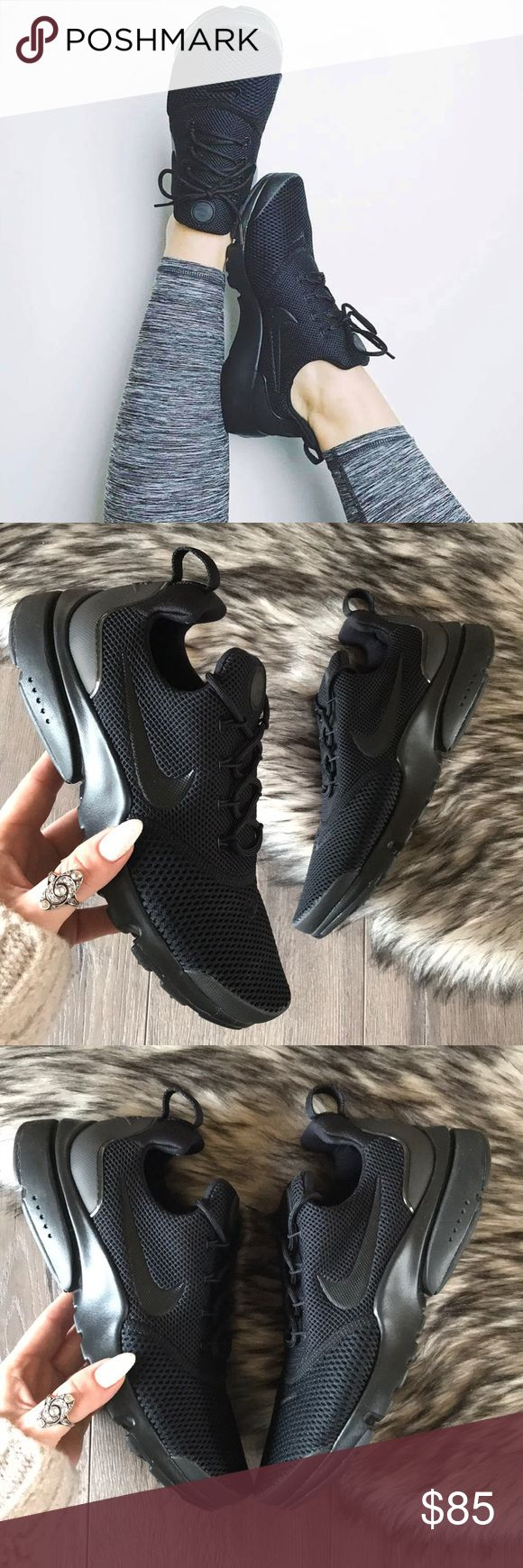 NWT🖤Nike Presto Triple Black Brand new with box,no lid!price is firm! A remake of the 2000 original, the Nike Presto Fly Women's Shoe delivers a T-shirt-like feel for your foot, with a breathable, incredibly flexible upper. Stretch mesh upper with TPU in toe and heel for breathable support Flywire cables integrate with laces for dynamic lockdown IU midsole doubles as an outsole for lightweight cushioning Rubber pods at heel and toe for durable traction Heel pull tab for easy on and off size…