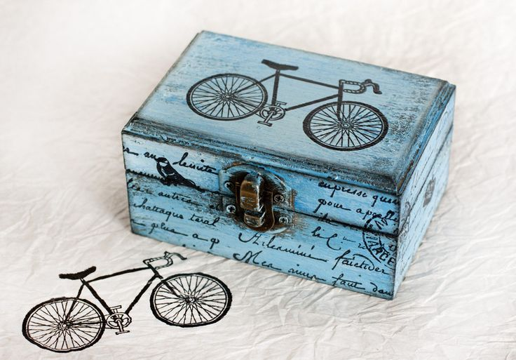 Vintage Bycycle Wooden Distressed Box.