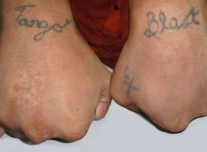 Tango Blast tatoo on hands.