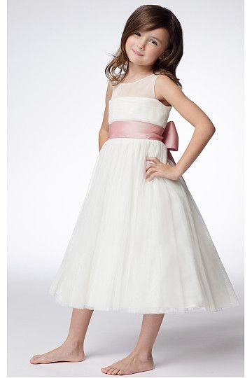 Stylish White Ankle-length Princess Chiffon Flower Girl Dresses