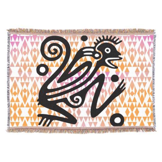 Vintage Aztec Monkey Throw Blanket