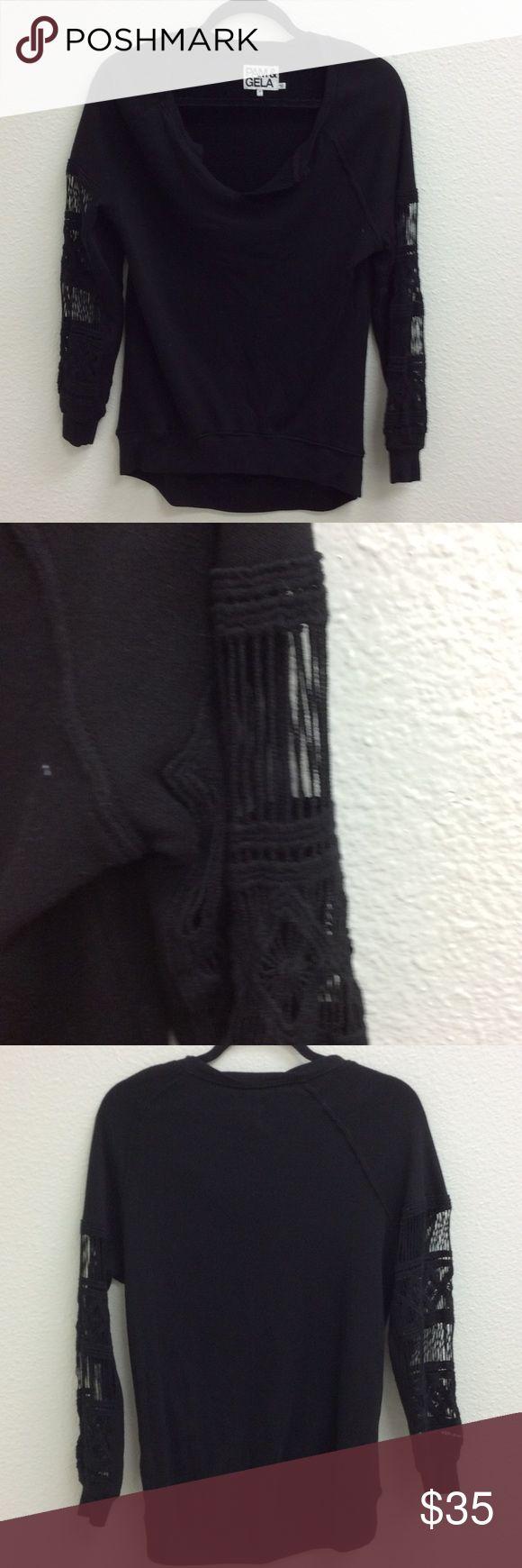 Pam & Gela Sweatshirt Pam & Gela black sweatshirt with detail on the sleeves - super cute!💕 Bundle & save! Pam & Gela Tops Sweatshirts & Hoodies