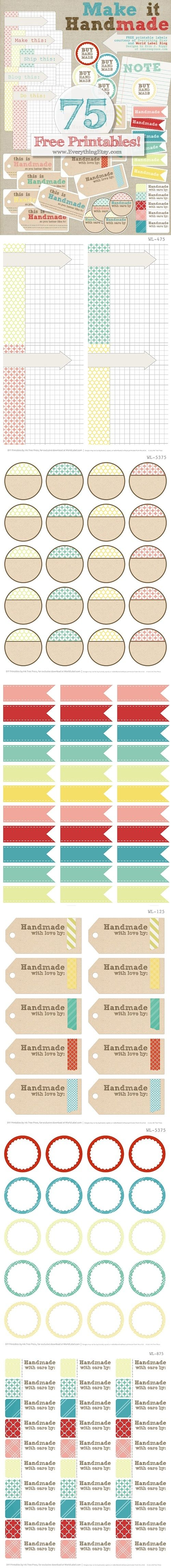 Many free printable labels - with easy to customize text by dbspecial