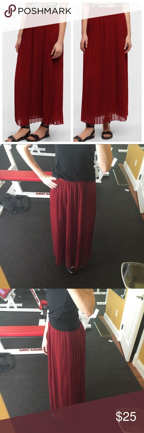 Sparkle and Fade pleated chiffon maxi skirt A really pretty maxi skirt from Urban Outfitters. In a maroon/ox blood color. Invisible side zipper. Lined. Can be worn high waisted. Urban Outfitters Skirts Maxi