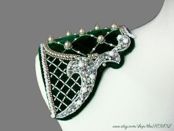 Baroque epaulettes on green velvet with cream glass by theKROL