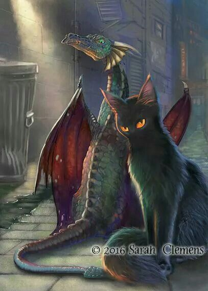 Idk if this is supposed to be fanart of something but I like that it's a dragon & a Toofwess Kitty in one picture :3