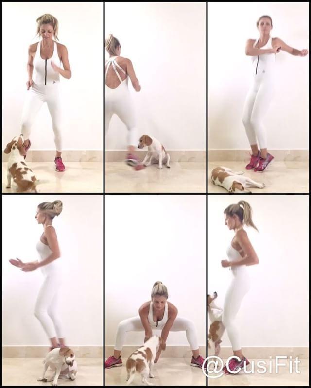 Arrancando la semana 🔥🔥eliminando grasa y activando el metabolismo! Cardio de alto impacto! Hoy @brunofitdog me la puso difícil! 🐶 . Vas a necesitar un cronómetro ⏳. Principiantes dos series,  intermedios tres y avanzados cuatro.  1️⃣ trote hacia adelatne y atrás.90 segundos 2️⃣ Barriga apretada y mantén Ll balance con los brazos. 1 minuto.  3️⃣ Giro de cintura por 1 minuto. 4️⃣ Tijereta rápida! Que la velocidad te permita perdurar durante 2 minutos. 5️⃣ Sumo squat: Si quieres puedes…