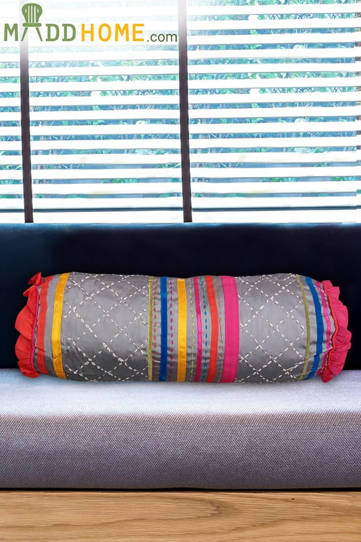 Combine the Grey Blue flat modern design sofa with MULTICOLOURED EMBROIDERED GREY #BOLSTER.