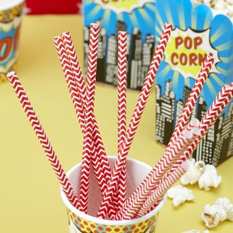These striking paper straws with a red chevron running through them are sure to stand out! Perfect for just about any party! Pack of 25. Each straw is 195mm tall.