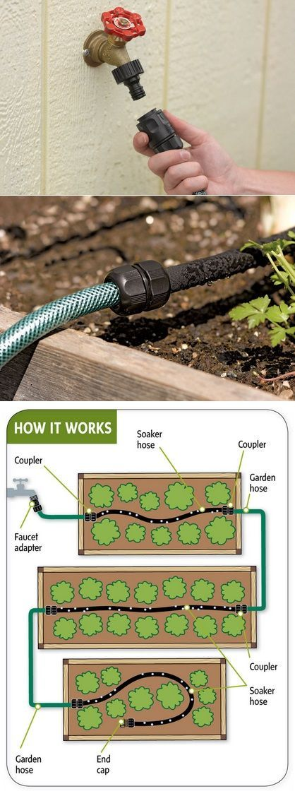 Easy garden watering- splicing soaker hose many places with reg. garden hose to water raised gardens..  | followpics.co