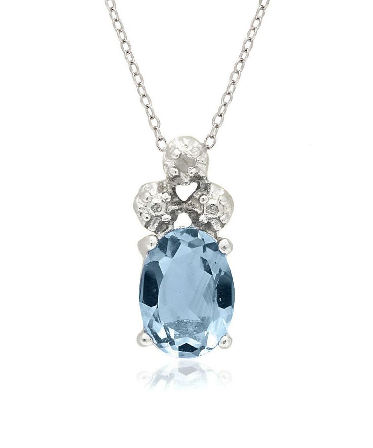 Blue Topaz & Sterling Silver Oval Pendant Necklace