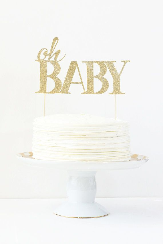 Baby Shower Cake Topper Oh Baby Cake Topper Gender Reveal Party Gold Glitter Party Supplies Baby Girl Cake Topper Girl Shower Decorations