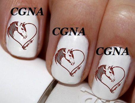 20 pc Red Brown Horse Head Horse Heart Horse Shoe Nail Art Nail Decals #cg31na