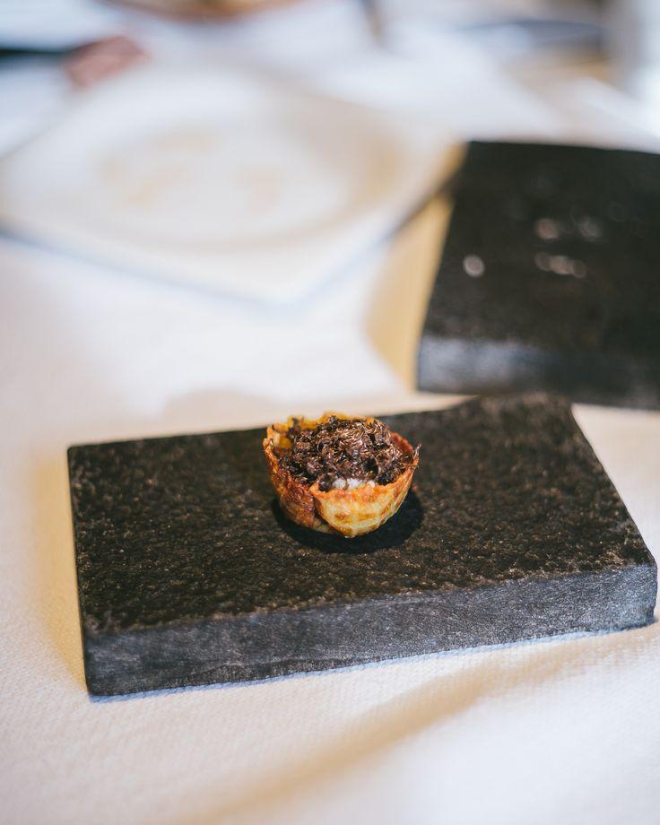 Potato tart and puree with Perigord truffle
