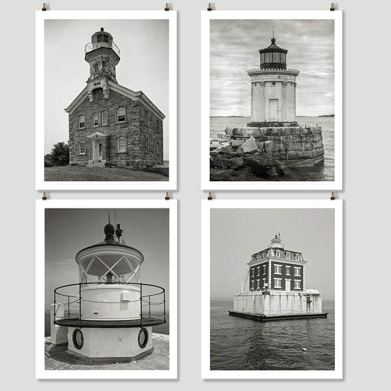 New England Lighthouse Photo Collection Four Prints Cottage