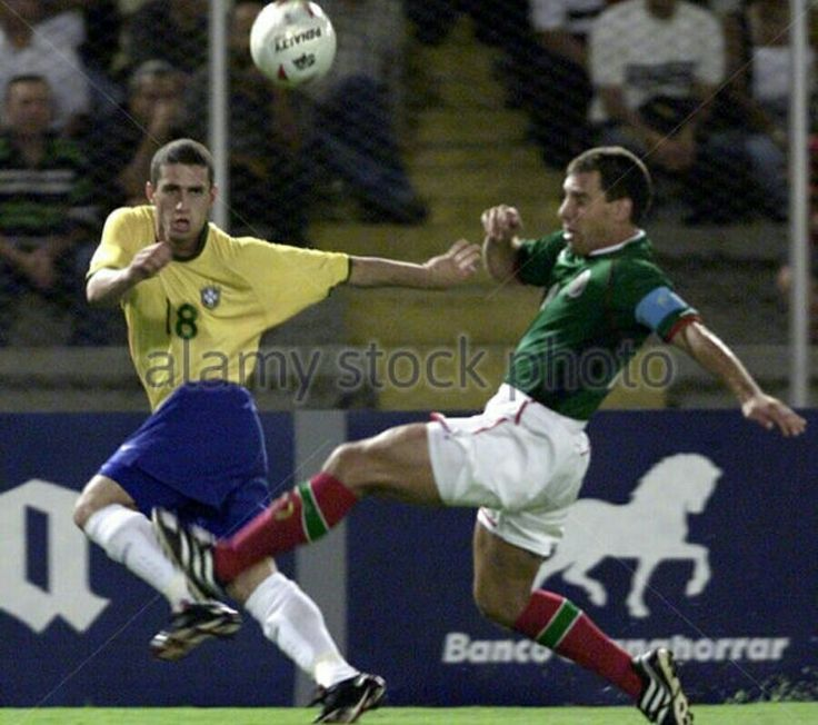 Brazil 0 Mexico 1 in 2001 in Cali. Fabio Rochemback gets his cross over as Brazil search for a goal in Group B at Copa America.