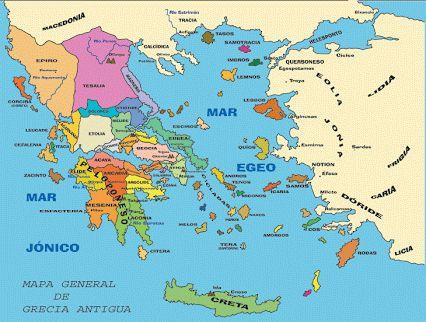 Jónico y Egeo. Mapa de Grecia antigua. Falta la Magna Grecia, sur de Italia y Sicilia.