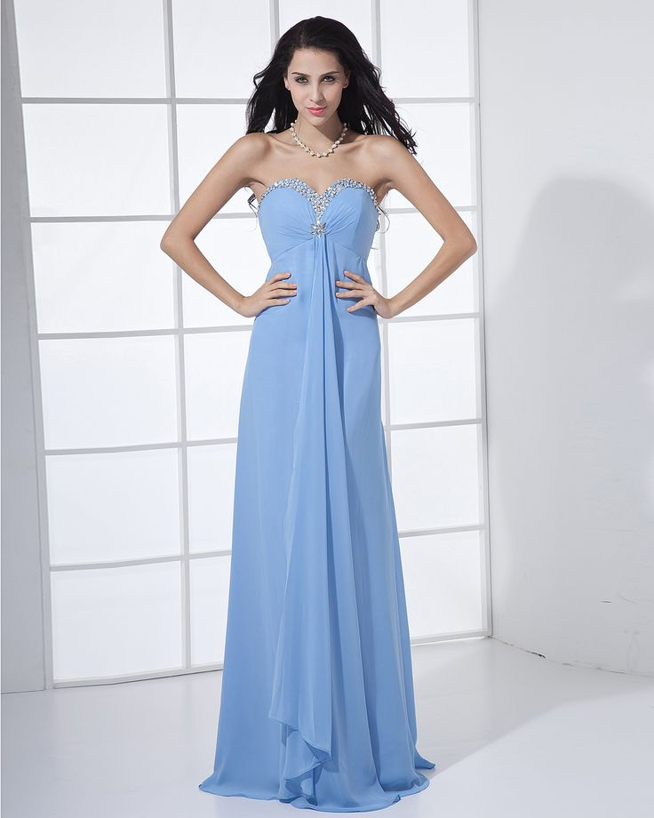 Chiffon Beading Sweetheart Floor Length Bridesmaid Dresses