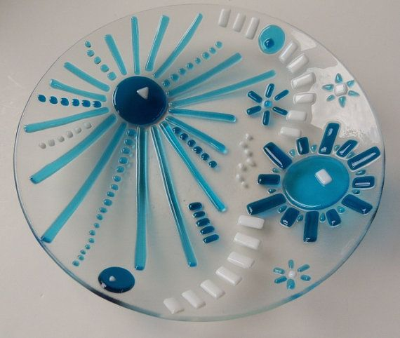 A Large Fun Fused Glass Modern Bowl with Turquoise and Teal.     This fun and colorful bowl is bright, cheerful, modern and functional. Not only will this look marvelous on display, it is completely functional and ready to use to serve a salad, as a fruit bowl, pasta bowl or a super sized ice-cream bowl!   I made this bowl with two of my favorite colors, a lovely turquoise blue and a deep rich Teal, I then accented it with bit of white. Each piece of glass is hand cut, and layered on a clear…