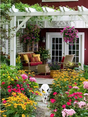 A pergola for the backyard patio - would love to have a porch swing hanging from it!  <3