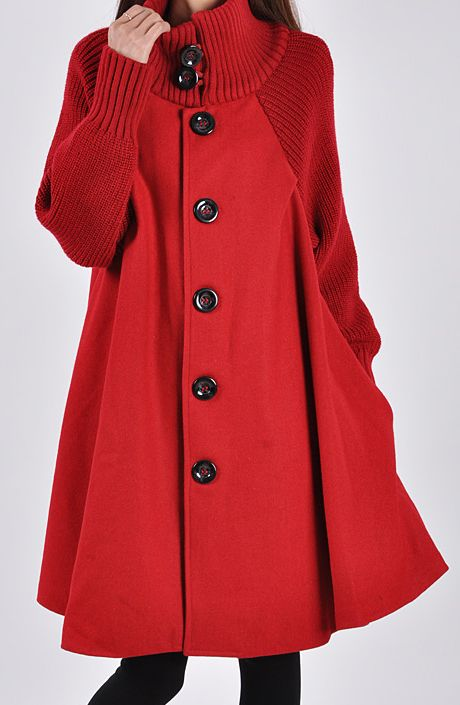 Red Long Sleeve Contrast Knit Button Cape - Sheinside.com