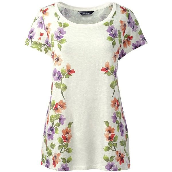 Lands' End Women's Petite Art T-shirt ($39) ❤ liked on Polyvore featuring tops, t-shirts, white, petite t shirts, white floral top, holiday tops, floral tops and white tee