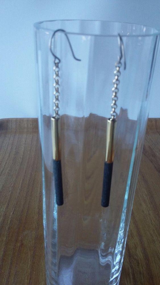 Aarikka Finland Vintage Earrings Black Wood Gold Metal Parts  Dangle 1980s #Aarikka