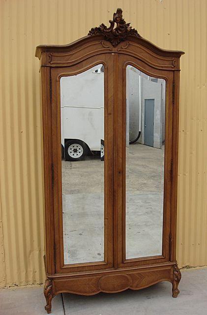 vintage antique furniture wardrobe walnut armoire. french antique louis xv armoire wardrobe closet cabinet bedroom furniture vintage walnut l