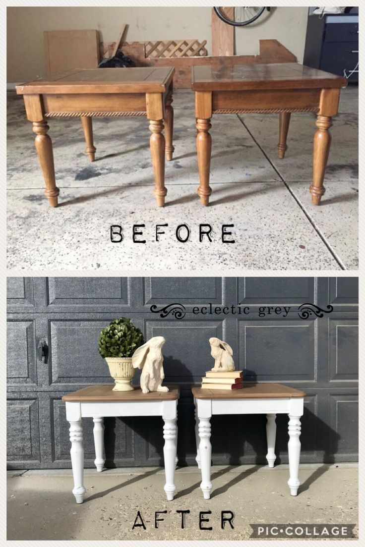 Who doesn't love a good before & after on these Dixie Belle refinished end tables? Eclectic Grey located in Ft Collins, CO.
