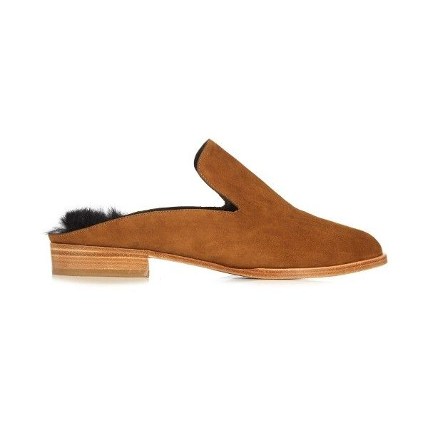 Robert Clergerie Alice suede slip-on loafers (15,955 INR) ❤ liked on Polyvore featuring shoes, loafers, backless loafers, brown shoes, brown loafers, brown suede loafers and loafers moccasins