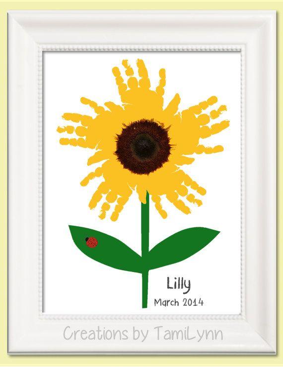 Sunflower Handprint Art Personalized Baby by CreationsbyTamiLynn