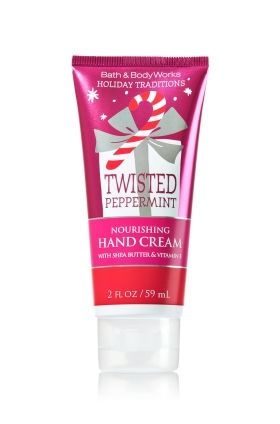 Twisted Peppermint - Nourishing Hand Cream - Bath & Body Works - A winter must-have! Moisturizing Shea Butter and Vitamin E absorb quickly to leave hands feeling soft, smooth, luxuriously nourished & lightly scented.