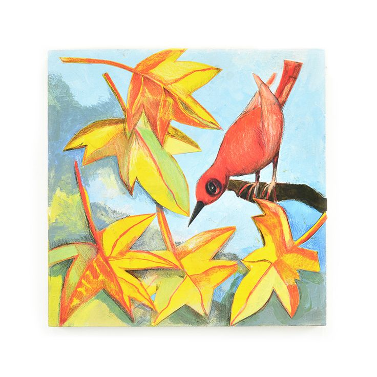 Red bird, painting, collage.