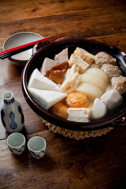 Japanese Food Oden (oh-DEN おでん):  Assorted Surimi Fish Cakes Stewed in Soy and Dashi, One of Winter Comfort Meals in Japan.